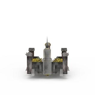 红色警戒美国建筑游戏场景3d模型