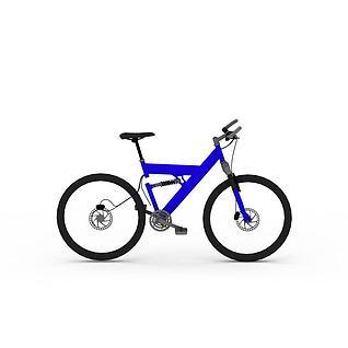 蓝色自行车3d模型