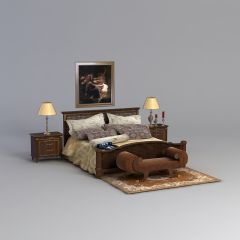 复古欧式双人床床具组合模型3d模型