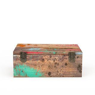 颜料木盒子3d模型3d模型