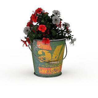 铁桶盆栽3d模型