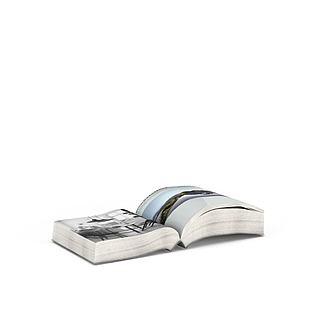 翻开的书3d模型