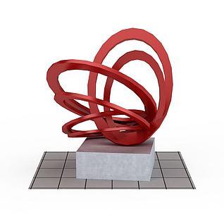 红色概念雕塑装饰3d模型