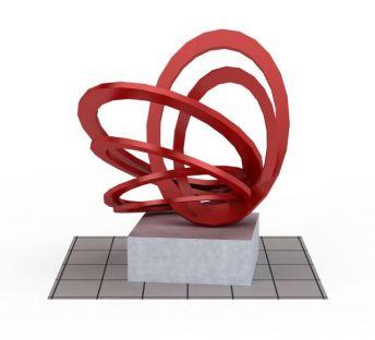 红色概念雕塑装饰