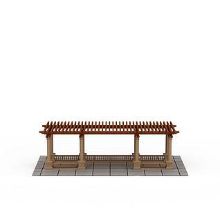 现代实木花架3d模型