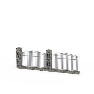 别墅围墙防护栏3d模型3d模型