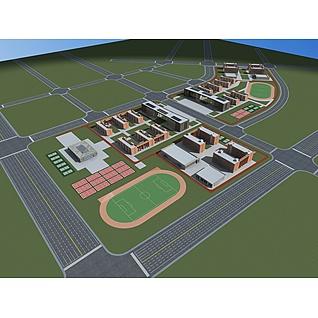 学校规划3d模型3d模型