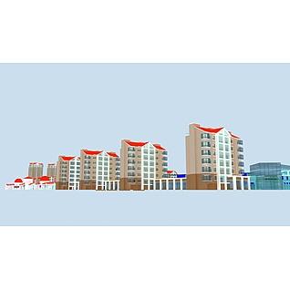 居民区步行街综合体3d模型3d模型