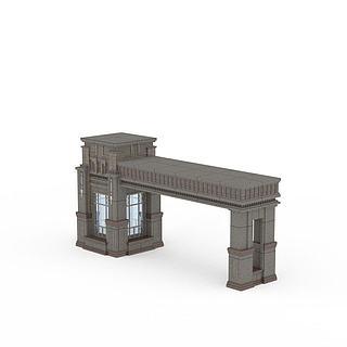 欧式大门建筑3d模型