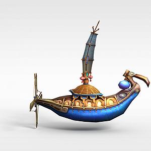 古代游戏场元素船模型3d模型