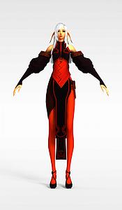 3d劍靈游戲人物女模型