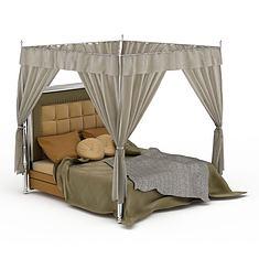 欧式床帐双人床3D模型3d模型