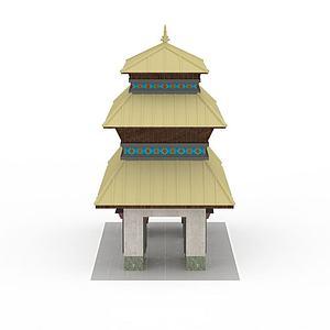 藏式塔楼模型3d模型