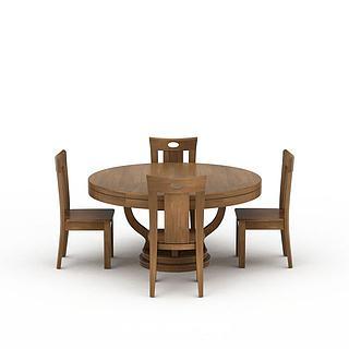 实木圆餐桌椅子组合3d模型