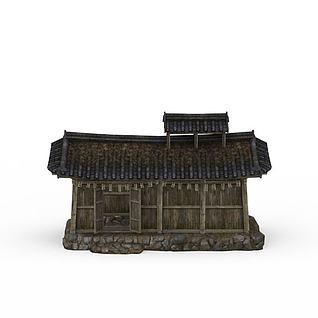 游戏木屋草房3d模型
