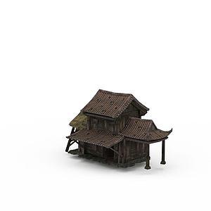 剑灵场景古建草房模型3d模型