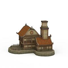 剑灵场景房子3D模型3d模型