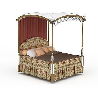 欧式四柱公主双人床3d模型3d模型