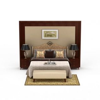 精美欧式印花布艺双人床3d模型3d模型