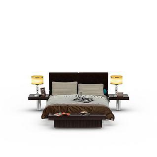现代简约美式双人床3d模型3d模型