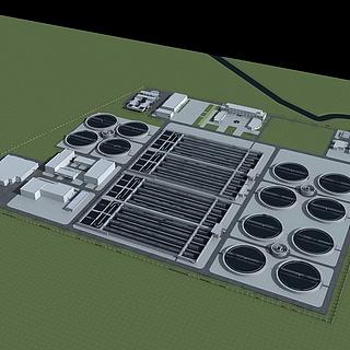 污水处理厂3d模型