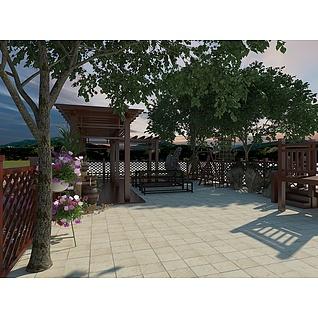 别墅庭院木结构设计3d模型
