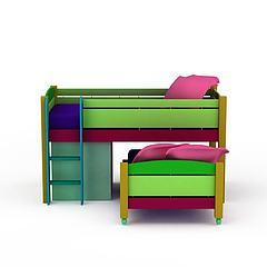 上下层儿童床模型3d模型