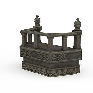 剑灵游戏场景建筑围栏模型3d模型