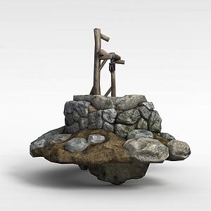 剑灵游戏建筑场景古井模型3d模型