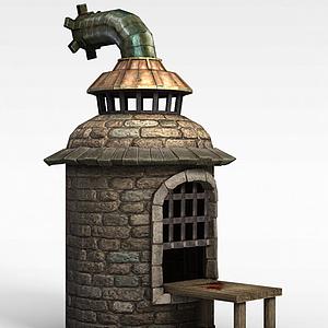 剑灵游戏场景建筑古窑模型3d模型