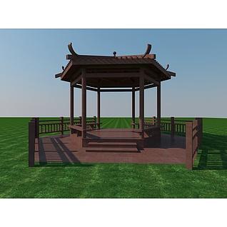 古建六角亭3d模型