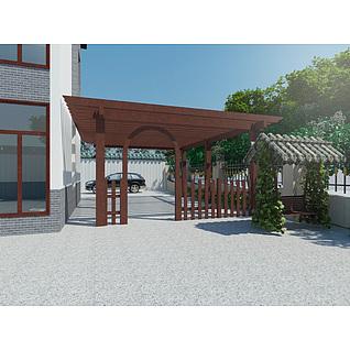 现代实木廊架3d模型