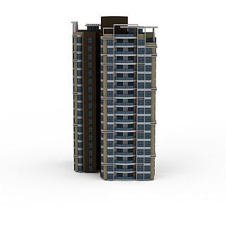 现代高层住宅楼建筑3d模型