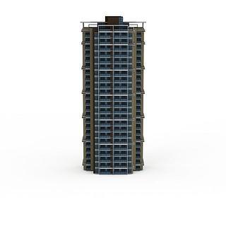 现代高层建筑配楼3d模型
