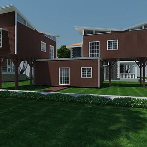 集裝箱式木屋別墅模型3d模型