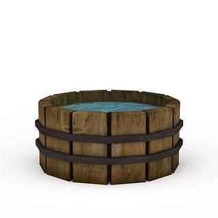 Q版场景道具木盆3d模型