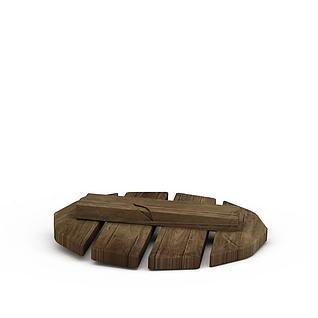 Q版场景道具木锅盖3d模型