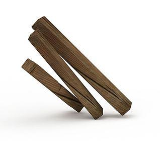 Q版场景道具木条3d模型