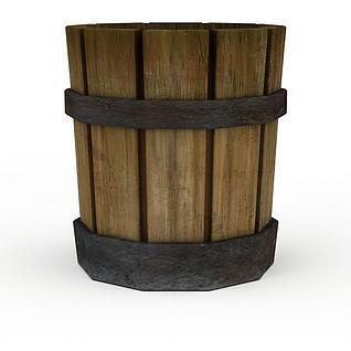 Q版场景道具木桶3d模型