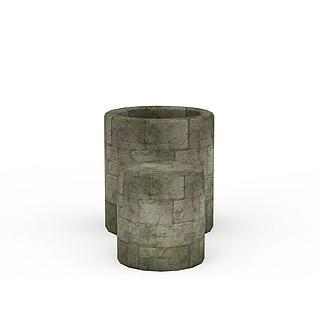 Q版场景道具石井石凳3d模型