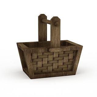 Q版道具打水木桶3d模型