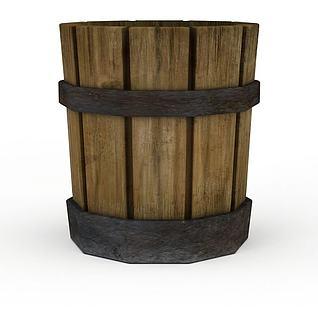 Q版道具古代木桶3d模型