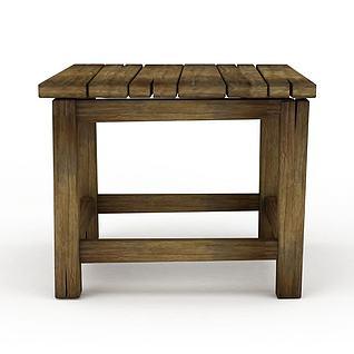 Q版场景道具实木方凳3d模型