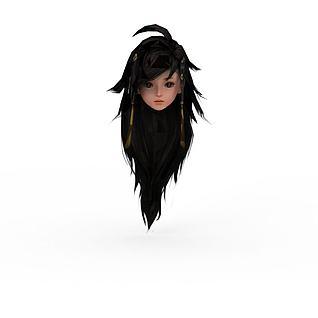剑网三女人头部发型3d模型