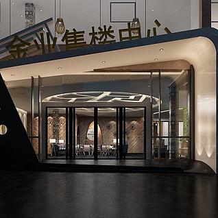 售楼中心门脸3d模型