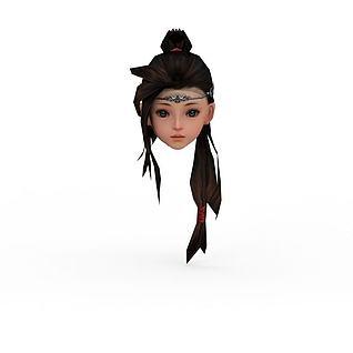 剑网三游戏人物发型3d模型