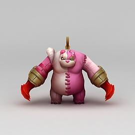 王者荣耀角色熊猫3d模型
