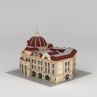 欧式城堡酒店建筑3d模型3d模型