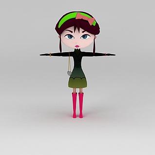 卡通女孩3d模型