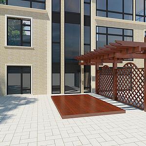 别墅前的单挑廊架模型